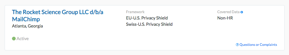 Privacy Shield Mailchimp Rocket Science